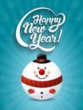 Счастливый текст литерности Нового Года с illust вектора игрушки Санта Клауса Стоковая Фотография