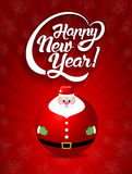 Счастливый текст литерности Нового Года с illust вектора игрушки Санта Клауса Стоковые Фотографии RF