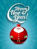 Счастливый текст литерности Нового Года с illust вектора игрушки Санта Клауса Стоковое Изображение