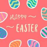 Счастливый текст оформления пасхи с красочной предпосылкой пасхальных яя Стоковые Фотографии RF