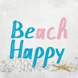 Счастливый текст с морскими звёздами Стоковое Изображение RF