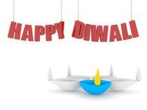 счастливый текст diwali 3d с одиночным diya цвета иллюстрация штока