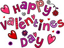 Счастливый текст Doodle шаржа дня валентинок Стоковое Изображение RF