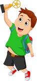 Счастливый умный мальчик держа трофей золота Стоковое фото RF