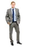 Счастливый усмехаться бизнесмена изолированный на белой предпосылке Стоковые Фотографии RF