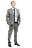 Счастливый усмехаться бизнесмена изолированный на белой предпосылке Стоковые Фото