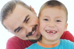 Счастливый усмехаться отца и мальчика Стоковая Фотография