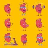 Счастливый усмехаясь логотип сердца Жизнерадостный логотип персонажа из мультфильма Стоковые Изображения RF