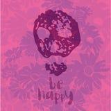 Счастливый - фраза воодушевленности на предпосылке wildflowers с силуэтом черепа Стоковое фото RF
