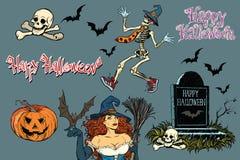 Счастливый хеллоуин собрание характеров Стикеры каркасные иллюстрация штока