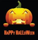 Счастливый хеллоуин с изолированной сердитой тыквой Стоковая Фотография