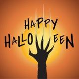 Счастливый хеллоуин с луной касания оборотня руки Стоковые Изображения RF