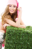 Счастливый хелпер santa с зеленым кубом Стоковые Фото