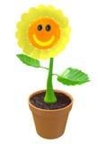 Счастливый цветок 3D при усмехаясь сторона растя в баке сада Стоковые Фотографии RF