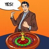 Счастливый человек за таблицей рулетки празднуя большой выигрыш Казино играя в азартные игры Искусство шипучки иллюстрация штока