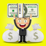 Счастливый человек и большой стог денег Стоковое Изображение