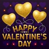 Счастливый шаблон плаката дня валентинки с сердцем сформировал воздушные шары Иллюстрация штока