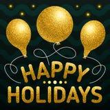 Счастливый шаблон плаката праздников с различными форменными воздушными шарами Бесплатная Иллюстрация
