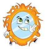 Счастливый шарж зеркала Стоковая Фотография RF