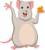 Счастливый шарж мыши с сыром Стоковые Изображения