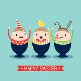 Счастливый шарж пасхального яйца Стоковое Изображение