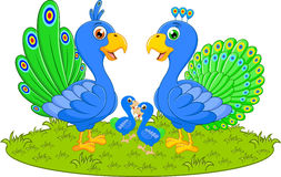 Счастливый шарж семьи павлина Стоковое Фото