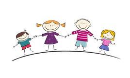 Счастливый шарж семьи Стоковое Фото
