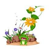 Счастливый шарж лягушки поя на саде Стоковые Фото
