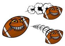 Счастливый шарик футбола или рэгби шаржа Стоковые Изображения RF