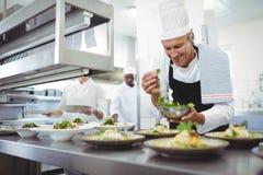 Счастливый шеф-повар гарнируя плиты закуски на станции заказа Стоковая Фотография RF