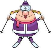 Счастливый лыжник шаржа иллюстрация вектора