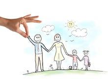 Счастливый эскиз семьи бесплатная иллюстрация