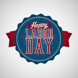 Счастливый ярлык значка Дня Трудаа Стоковые Фотографии RF