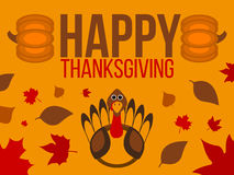 Счастливый ярлык официальный праздник в США в память первых колонистов Массачусетса Знамя благодарения с листьями Стоковая Фотография