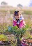 Счастливый для того чтобы вытянуть вне морковь маленькой девочки Стоковое Изображение RF