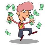 Счастливый для того чтобы получить деньги бесплатная иллюстрация