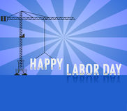 Счастливый День Трудаа с краном, День Трудаа может Vector иллюстрация Стоковые Изображения