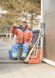 Счастливый dustman стоковое изображение rf