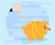 Счастливый piggy банк свиньи идет на поводок Контролируйте богатство, защиту сбережений, деньги Плоский стиль Стоковое фото RF