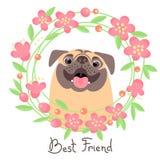 счастливый pug Лучший друг - собака и венок цветков в стиле шаржа иллюстрация штока