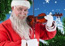 Счастливый santa играя скрипку 3D Стоковая Фотография
