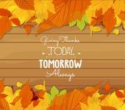 Счастливый thankgiving с поздравительной открыткой листьев бесплатная иллюстрация