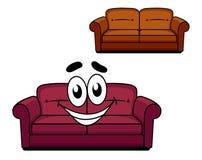 Счастливым кресло обитое шаржем бесплатная иллюстрация
