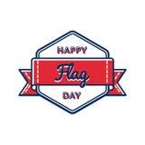 Счастливым эмблема изолированная Днем флага приветствуя Стоковые Изображения RF