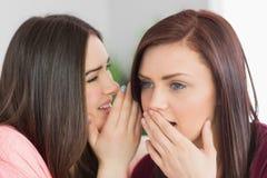 2 счастливых девушки деля секреты Стоковое фото RF