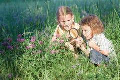 2 счастливых дет играя в парке на времени дня Стоковое Изображение