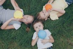 3 счастливых дет играя на траве на времени дня Стоковая Фотография RF