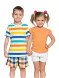 2 счастливых дет на белой предпосылке Стоковые Изображения RF