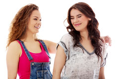 2 счастливых женщины стоя совместно Стоковые Изображения RF