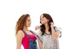 2 счастливых женщины стоя совместно Стоковое Изображение
